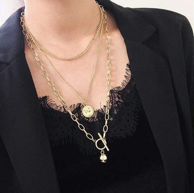 Square Metal Multilayer Hip hop Long Chain Cool Simple Necklace For Women