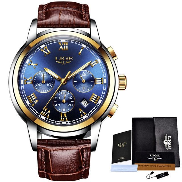 New Mens Watches Top Luxury Brand Men Leather Sports Watches