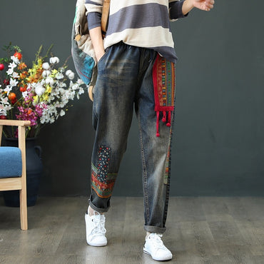 Spring Autumn Women Jeans Casual Loose High Waist Patchwork Denim