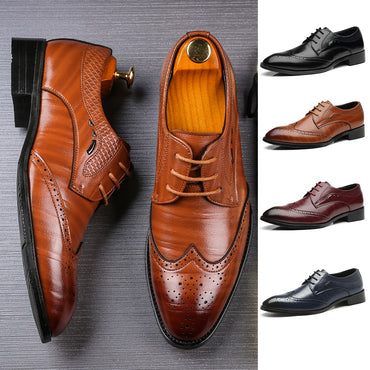 New Men's Brogue Perforated Leather Wing-tip Lace Up Oxford Dress Shoes C2-2791