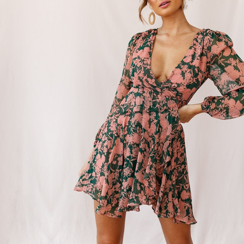 Romantic Floral Chiffon Going Out Short Sexy V Neck Boho Chic Dress