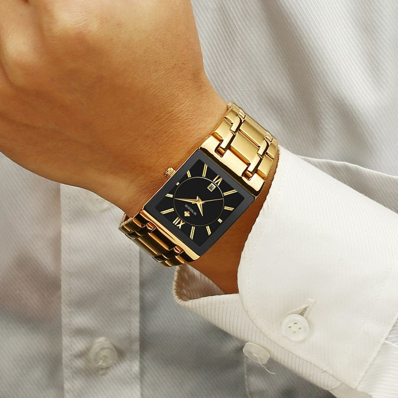 Men Watches Top Brand Luxury Gold Black Square Quartz