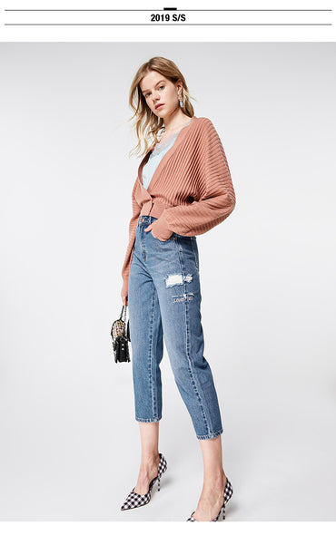 New Arrival Women's High-rise Loose Fit Ripped Crop Jeans