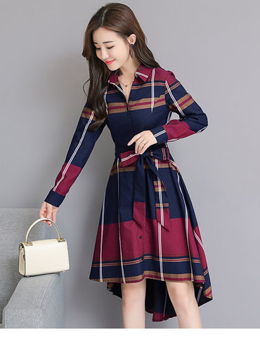Autumn Elegant Asymmetrical Hem Dress Bodycon Long Sleeve Turn-down Collar Party Plaid Dress