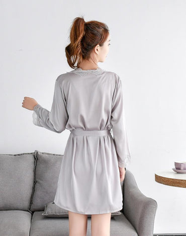 Women's Satin Silk Woman Lace Robe Sleepwear