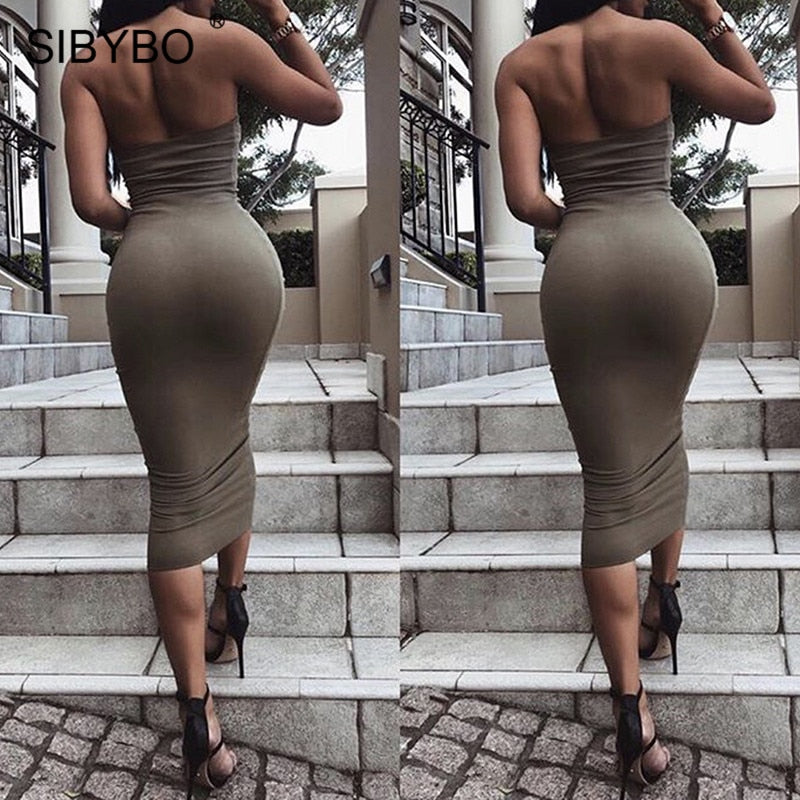 Off Shoulder Strapless Sexy Women Dress Sleeveless Straight Long Bodycon Dress