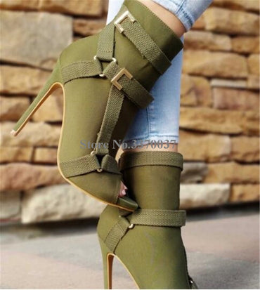 New Design Women Fashion Peep Toe Suede Leather Stiletto Heel Short Boots