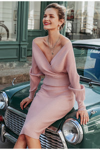 Sexy v-neck women knitted sweater dress