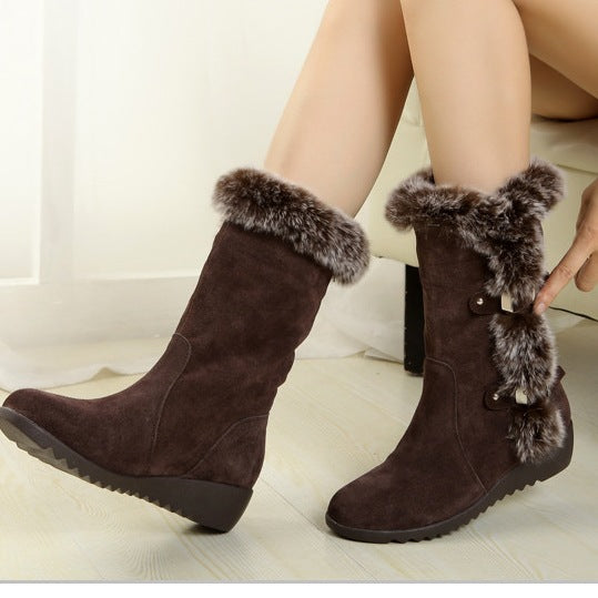 Hot Fashion Women Boots Thigh High Suede Mid-Calf  Boots
