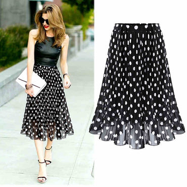 4XL 5XL Plus Size Pleated Chiffon Skirt For Woman