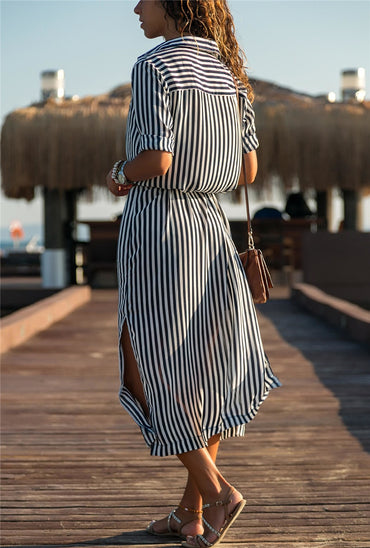 Chiffon Striped Casual A-Line Long Sleeve Midi Party Dress