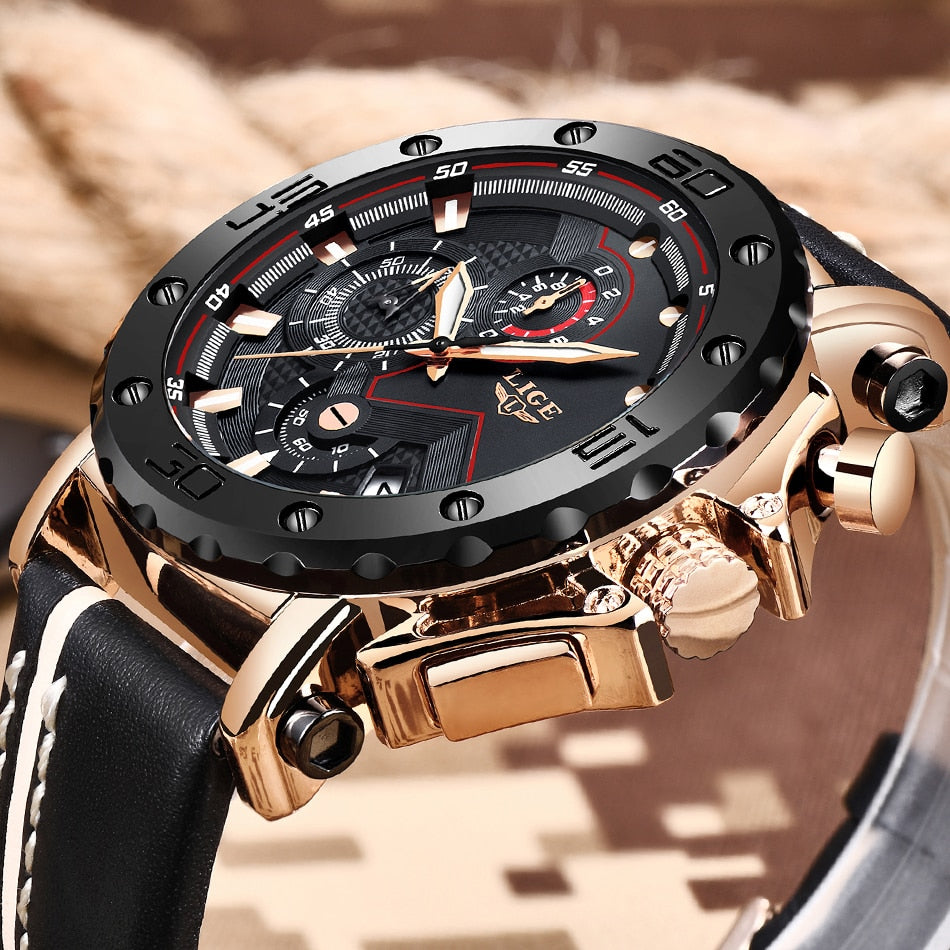 New Fashion Mens Watches Top Brand Luxury Big Dial Leather Waterproof Sport Chronograph Watch