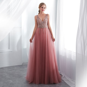 Beading Prom Dress V Neck High Split Tulle Sweep Train Sleeveless Evening Gown