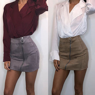 Women Ladies High Waist Zipper Pencil Skirt Bodycon Suede Leather Mini Skirt