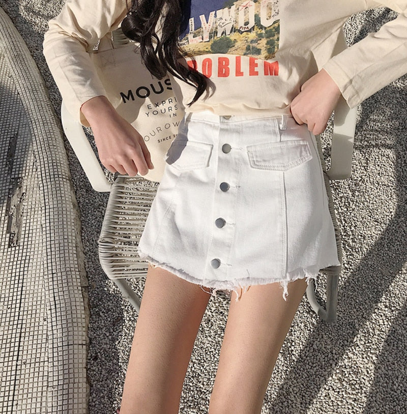 Summer Fashion Button Design High Waist Jean Shorts
