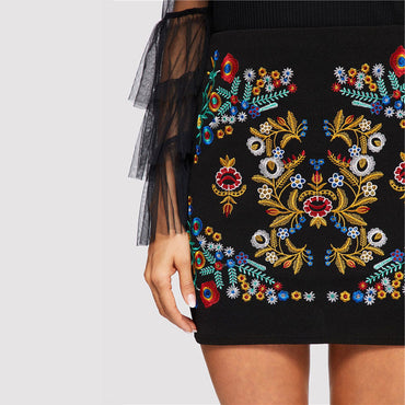 Black Botanical Embroidered Textured Skirt Casual Zipper Night Out Mini Skirts
