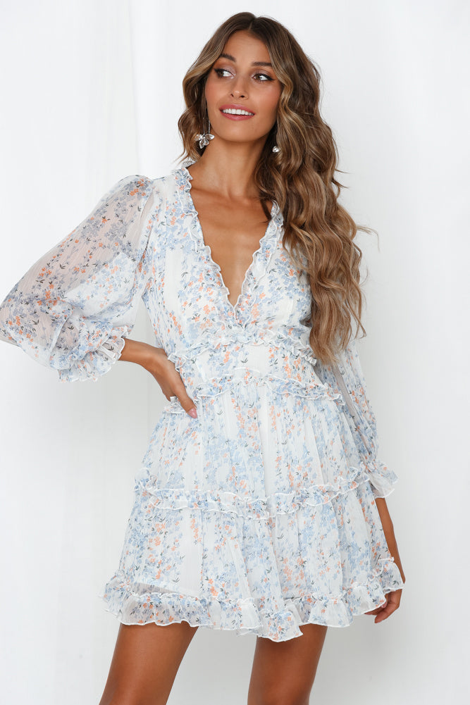 Sexy Back Open Floral Print Chiffon Dress