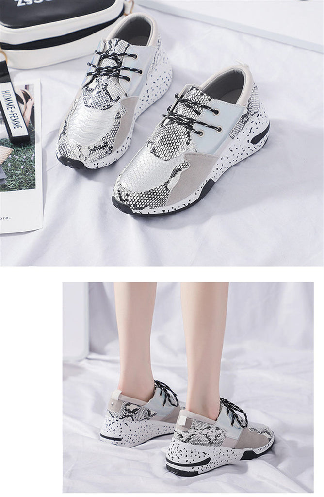 Women Platform Shoes Leather Snake Pattern Chunky Sneakers