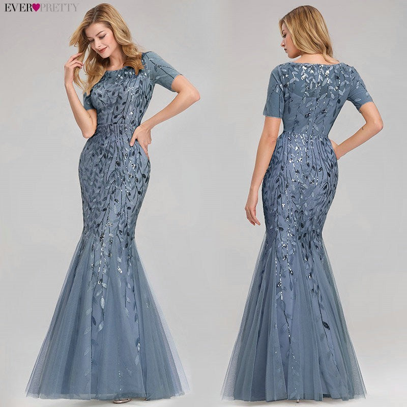 Women Prom Dress Short Sleeve Lace Appliques Tulle Mermaid Long Dress Party Gowns