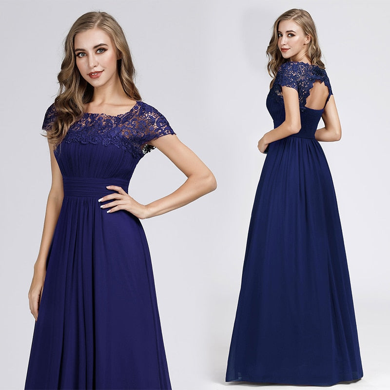 Evening Dress Long Appliques Pleated Chiffon Elegant Open Back Lace Dress