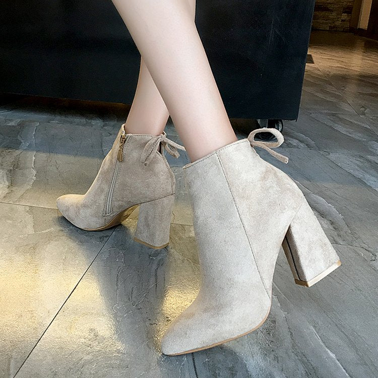Women Mid Calf Boots Pointed Toe Zippers Lace-up Boots