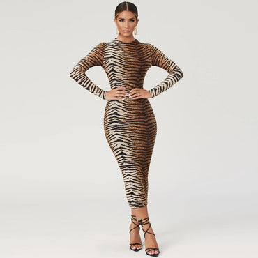Leopard print long sleeve slim bodycon sexy dress