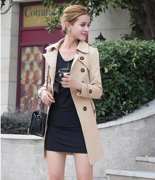 Trench Coat For Women Double Breasted Slim Fit Long Outerwear