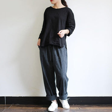 Autumn Striped Pants Women Casual Baggy Pant