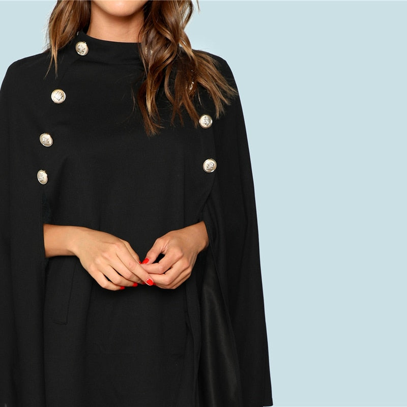 Black Highstreet Double Button Mock Poncho Solid Women Elegant Coat