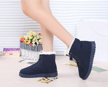 Hot Fashion Women Boots Winter Warm Lace Up Fur Ankle Boots