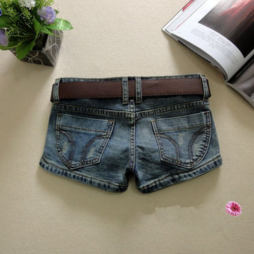 New Womens Skinny Denim Shorts Stretchy Low Waist