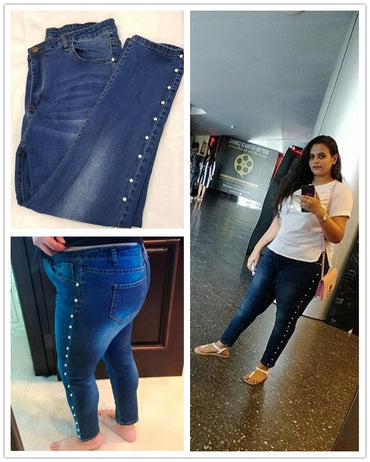 Plus Size Blue Pearls Beads Casual Denim Jeans Woman