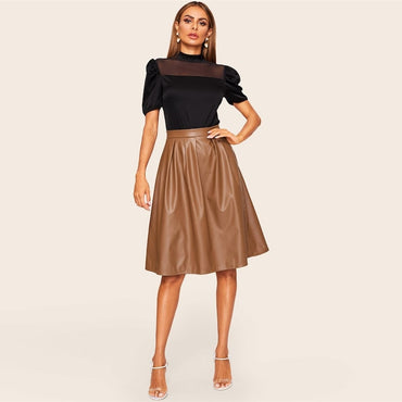 Casual Mid Waist Pleated PU Leather Skirt