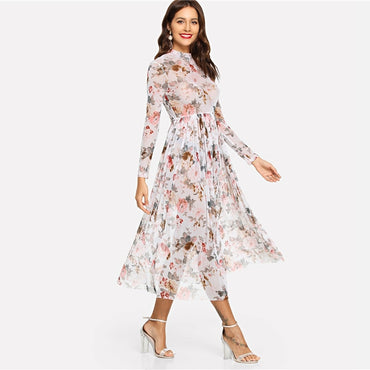 Multicolor Highstreet Party Elegant Mock Neck Semi Sheer Pleated Floral A Line Dress