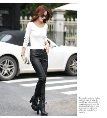 Spring Autumn Casual Leather Pants Lady Hot Slim
