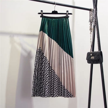 Spring New-Coming Europen Color Matching Plaid  Pleated skirt