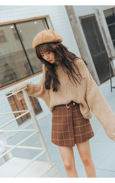 Women Harajuku Thickened Woolen Plaid Retro Skirt