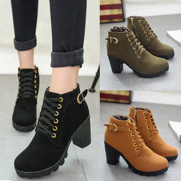 Women Shoes Fashion High Heel Lace Up Ankle BootsBuckle Platform Artificial Leather