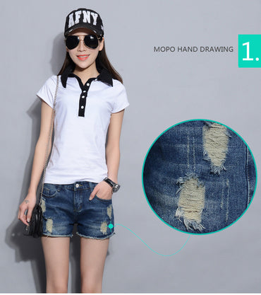 Europe Blue Denim Shorts For Women