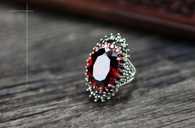 Vintage Red Blue Silver Color Rings Crystal Party CZ Ring for Women