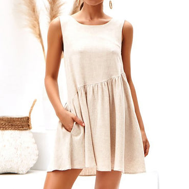 Sexy Backless Boho Style Sleeveless Casual  Loose A-Line Party Dress