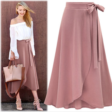 Summer High Waist Irregular Skirt Women Solid Bow tie Belt Split Maxi