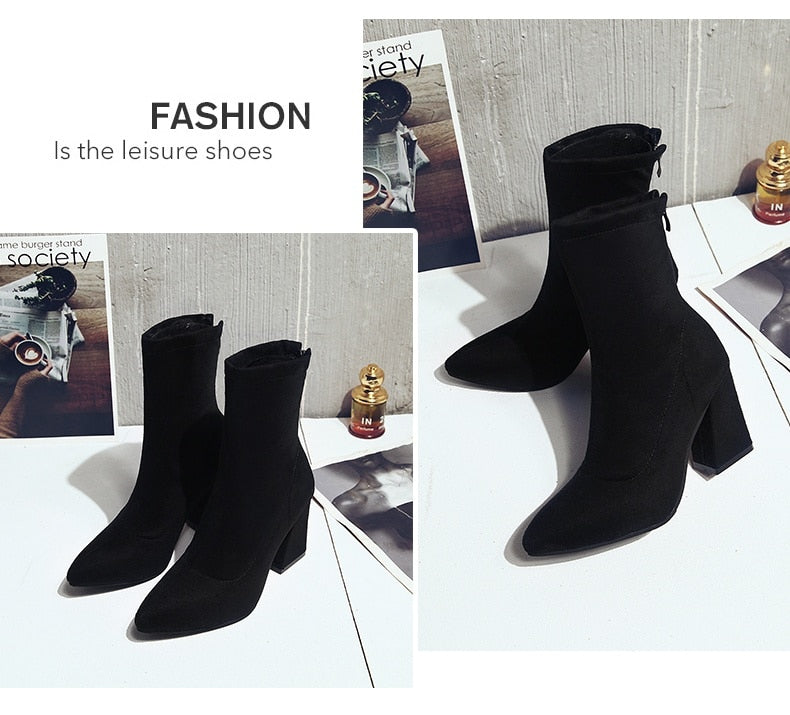 Woman Sexy Zip Up Square High Heels Party Boots Top Quality