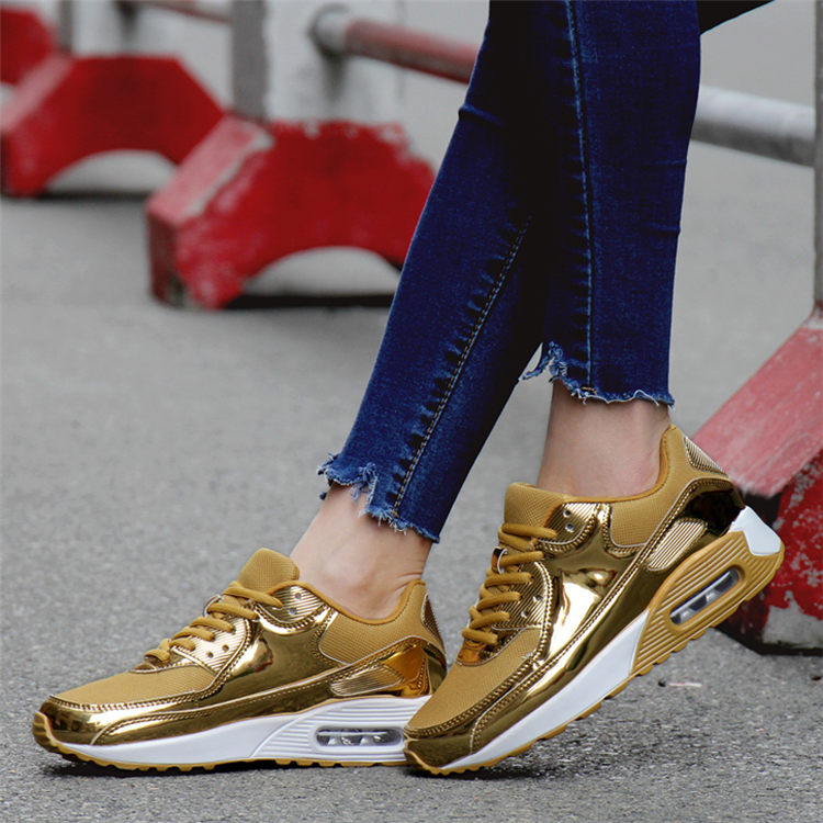 Luxury Fashion Women Sneakers Golden Mesh Breathable Air Sport Shoes