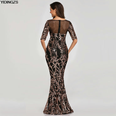Sequins Evening Party Dress Half Sleeve Beads Formal Long Evening Dress