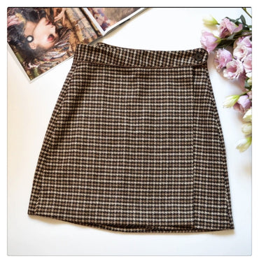 Woman Skirt Bodycon Sexy Winte High Waist Vintage Petticoat Lattice Plaid Skirt