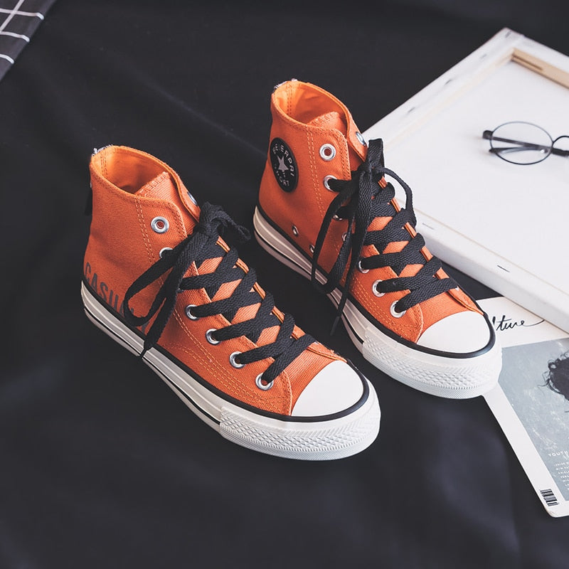 Woman Casual Shoes High Top Fashion Lace Up Canvas Shoes