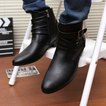 New  spring Autumn Men pointed toe height increase ankle boots