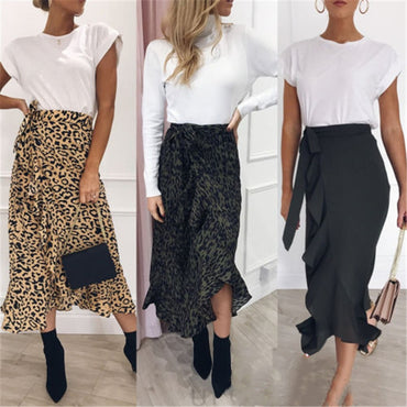 New Women Leopard Print Maxi Skirt Ladies High Waisted