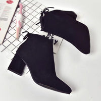 New fashion booties pointed thick with shallow mouth plus cotton warm and comfortable